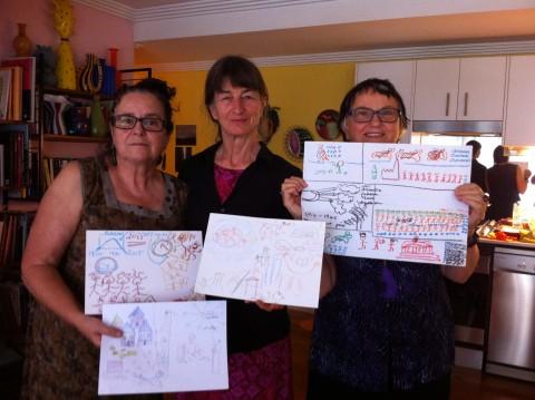 Jan, Kit and Sally display Piketty artwork